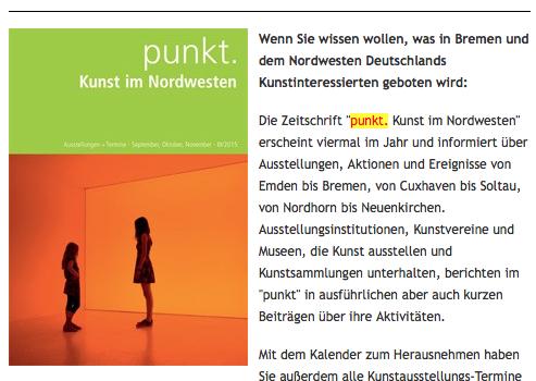 Ankündigung der Ausstellung Susanne Riemann in Lingen bei punkt. Kunst im Nordwesten – 08. Nov. 2015 bis 20. Jan. 2016