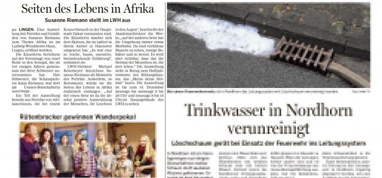 Artikel in der Lingener Tagespost über die Ausstellung Afrika im LWH